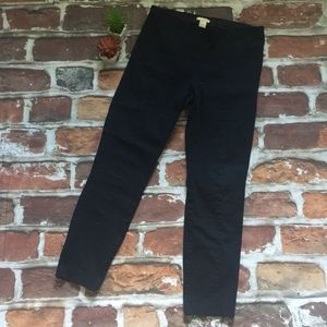 Navy pleated ankle work pants